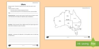 Australian States and Territories – Uluru Information Report - Year 3, Year 4, Year 5, Year 6, ACHASSK066, Australian Curriculum, Geography, language, Vocabulary,