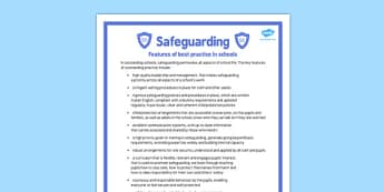 Safeguarding Features of Best Practice in Schools Poster - safeguarding, features, best, practice, schools