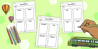 Transport Read and Draw Worksheet - read, draw, transport, sheet