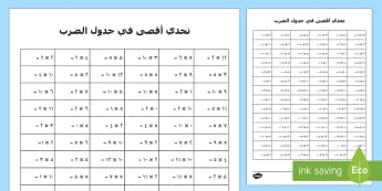 ورقة نشاط تحدي أقصي في جدول الضرب - جدول الضرب، جدول ضرب، ضرب الأعداد، الضرب، حساب، رياضيا