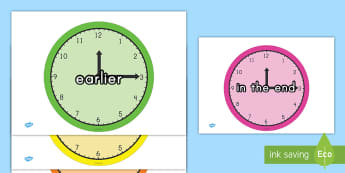 Time Conjunctions Display Posters - clocks, time, vocabulary, phrases, math, recognition