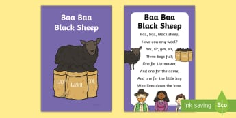 Baa Baa Black Sheep Nursery Rhyme IKEA Tolsby Frame - nursery rhyme, Baa Baa Black Sheep, multi-use resource, Ikea Tolsby frames, ikea frame resource, dis