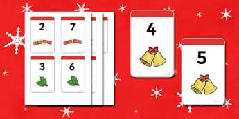 Christmas Number Bonds to 9 Matching Cards - Number Bonds, Matching Cards, Clothing Cards, Number Bonds to 9, Christmas, xmas, tree, advent, nativity, santa, father christmas