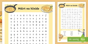 Pancake Tuesday Máirt na hInide Word Search Gaeilge - gaeilge, irish, pancakes, pancake day, shrove tuesday, pancakes, mairt na hinide, word search