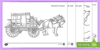 Gold Rush Colouring Pages - Australian colony, ACHASSK108, ACHASSK109, mining, miner, Australia