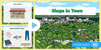 Magazinele din oraș PowerPoint  - vocabular în engleză,  comunicare în engleză, pronunție în engleză, activități de comunicar