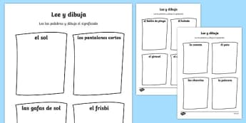 Summer Read and Draw Worksheet Spanish - seasons, colour, colering, colourng, seaons, couloring, summertime, Timw