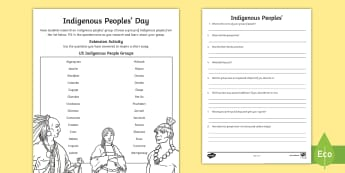 Indigenous Peoples' Day Research Activity - Indigenous Peoples' Day, native, american, columbus, tribe, colony, USA,