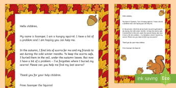 Editable Squirrel Lost Acorns Letter - EYFS, Early Years, Early Years planning, Key Stage 1, KS1, topic starter, topic introduction, Wow ac