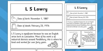 L S Lowry Significant Individual Fact Sheet - fact sheet, lowry