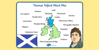 Scottish Significant Individuals Thomas Telford Word Mat - engineer, bridges, roads, canals, construction, significant individual