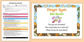 EYFS Bean Sorting Finger Gym Activity Plan and Prompt Card Pack