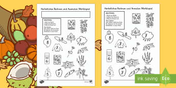 Herbst Würfelspiel: Addieren und Anmalen
