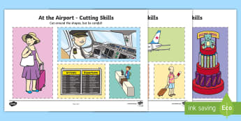 The Airport Cutting Skills Activity Sheet - summer, holidays, fine motor skills, cutting, airport, travel, transport, infants, plane, air,Irish