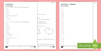 KS4 Substitution Activity Sheet - worksheet, expressions, area, perimeter, Pythagoras, Simultaneous Equations, Using Applying, Reasoni