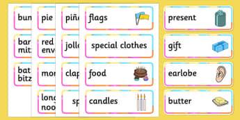 Birthdays Around the World Vocabulary Cards - ESL Birthday Resources