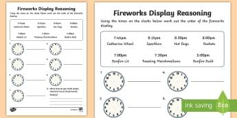 Fireworks Display Reasoning Activity Sheet  - reasoning, numeracy, ks1, fireworks, time,Worksheet