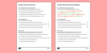 Complex Sentences Revision Activity Sheet - compound sentences, complex sentences, improving writing, sentences, editing, SEN, MLD, KS3, structure, worksheet