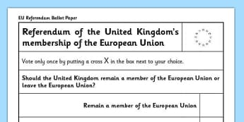 EU Referendum 2016 Ballot Papers - EU, referendum, vote, ballot, paper