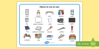 Objetos da sala de aula, vocabulário ilustrado - sala, aula, turma, organizacao, sinais, etiquetas, emblemas, rotulos, vocabulario, palavras, ortogra