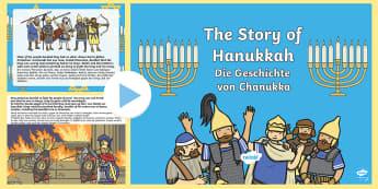 The Story of Hanukkah PowerPoint English/German  - Chanukka, Judaism, festival, EAL, German, English-German,,German-translation