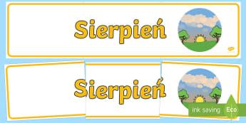Banner na gazetkę Sierpień - banner, gazetka, pory, roku, miesiące, miesiąc, lato, sierpień, sierpniu, wiosna, nazwy, miesięc