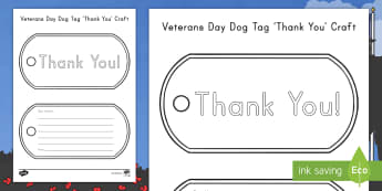 Veterans Day Dog Tag Thank You Craft - Army, Navy, Coast Guard, Air Force, Marine Corps, gratitude, armed services, letter writing