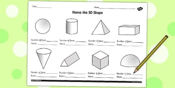 Name the 3D Shape Year 3 Worksheet - worksheet, 3d, shape, year 3