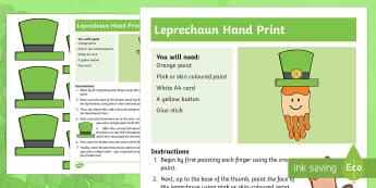 Leprechaun Handprint Activity - NI St. Patrick's Day Resources, St. Patricks, Leprechaun, Hat, Ireland, Irish, create, design, art,