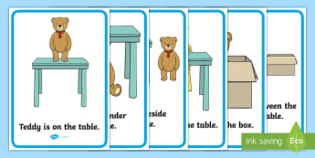 Prepositions Display Posters - UAE, ADEC, MOE,teddy, preposition, prepositions, over, under, next to, around, english,