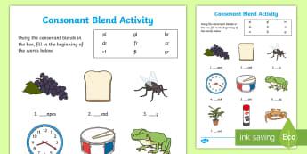 Consonant Blend Activity Sheet - phonics, spelling, patterns, oral, reading, combine, sounds, pronounce, worksheet
