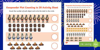 Gunpowder Plot Counting to 20 Activity Sheet, worksheet