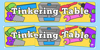 Tinkering Table Display Banner - tinkering table, display banner, display, banner, tinker, table, dt, d and t, design, technology, making, designing, creating, area