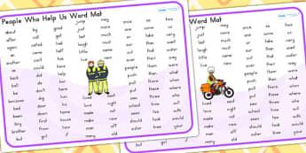 People Who Help Us Themed KS1 Word  Mat - keyword mat, visual aid