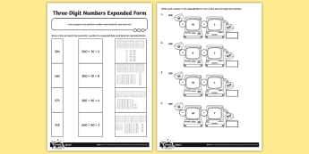 Three-Digit Numbers in Expanded Form Activity Sheet - Number, Place Value, maths mastery, year 3, fun maths, hundreds, tens, ones, number value, expanded