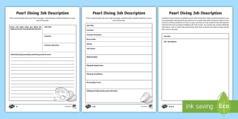 Pearl Diving Job Advertisment Activity Sheet - Middle East, UAE, oyster, advert, vacancy, description, text type, worksheet