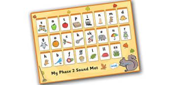 Autumn Themed Phase 2 Sound Mat - autumn, phase 2, phase two, sound mat, phase 2 sound mat, autumn themed sound mat, themed sound mat, phase 2 sounds