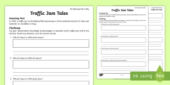 Traffic Jam Tales Activity Sheet - amazing fact august, percentages, finding a percentage, calculating percentages, percentages of amou