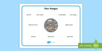 Dun Aengus Word Mat - ROI - Dún Aonghusa, bronze age, fort, dun aengus, aran islands, inishmore, galway,Irish