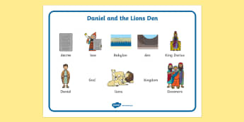 Daniel And The Lions Den Word Mat - Daniel and the Lions, Daniel, Lions, lion pit, word mat, writing aid, mat, Babylon, King Darius, governors, God, pray, den, bible story, bible