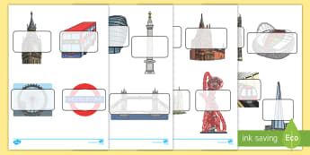 London Themed Self Registration Labels - London Themed Self Registration Labels - English, England, UK, cut outs, country, geography, georgra