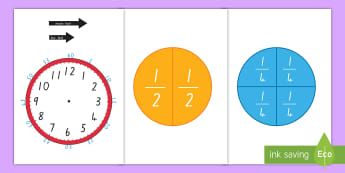 Fractions of Time Teaching Activity - measurement, telling the time, clock, o'clock, quarter, half, half past, quarter past