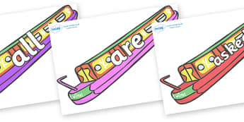 Tricky Words on Narrow Boats - Tricky words, DfES Letters and Sounds, Letters and sounds, display, words