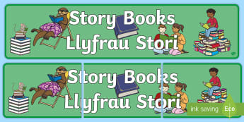 Story Books Bilingual Display Banner English/Welsh -  baneri, billingual, arddangosfa dosbarth, classroom display, story books, llyfrau stori,Welsh