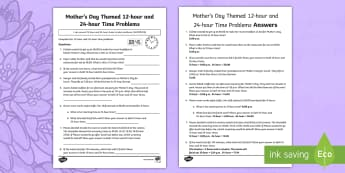 Mother\'s Day Themed 12-hour and 24-hour Time Problems Activity Sheet - Mother's Day Maths, maths, mother, mother's day, mum, year 5 maths, 12-hour, 24-hour, time convers