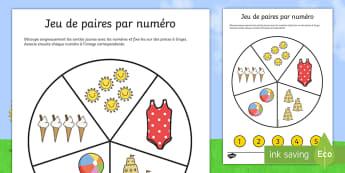 Feuille d'activités : Jeu de paires par numéro - L'été - jeu de paires par numéro, été, paires, nombres, feuille d'activités, Number Matching Pegs Activ