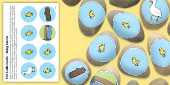 Five Little Ducks Story Stones Image Cut Outs - counting story, eyfs, ks1, continuous provision