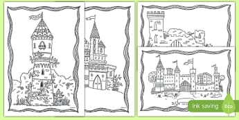 Castle Themed Colouring Pages