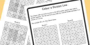 Year 4 Colour the Division Equation Game Sheet - dividing, maths