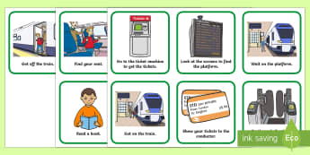 Catching a Train Visual Support Picture Cards - transport, visual timetable, getting a train, train tickets support, SEN, PECS,